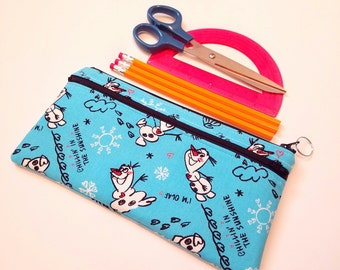 FINALPRICE CLEARANCE Double Zipper Large Pencil Case / Olaf / Frozen / Blue
