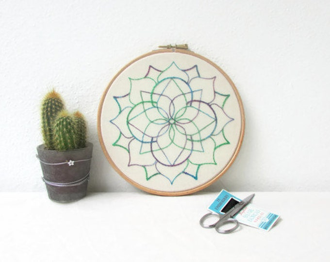 Mandala embroidery wall art, handmade in the UK