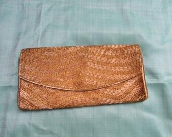 Vintage gold and yellow satin beaded  clutch purse, Hong Kong hand beaded 50's evening bag bridal wedding