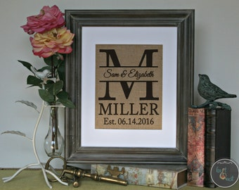Say I Love you with this personalized wedding gift | Burlap Wall Decor | Family Name Sign with Monogram & Established Date | Wedding Shower