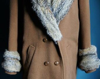80's 90's vintage coat with genuine fur trim