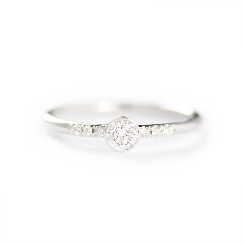 14k Solid White Gold 0 15ct Diamond Engagement Ring Simple