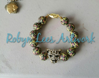 Leopard Print Polymer Clay Beaded Bracelet with Gold and Crystal Rhinestones Leopard Head and Gold Box Hook Clasp