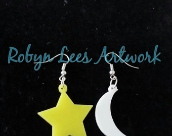 White and Yellow Moon and Stars Laser Cut Earrings on Silver Hooks