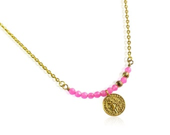 Fuchsia jade beads and gold coin necklace, Antique gold coin bar necklace, Gifts for mom, Pink gemstone bar pendant necklace, Gifts for her