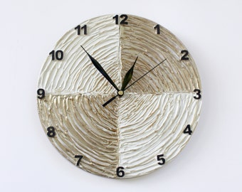 Modern WALL CLOCK with numbers, White wall clock, wood clock, white home decor, white gold decor,  house warming gift, wedding gift