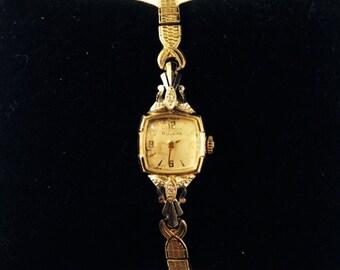 Vintage 1953 Bulova 14K Gold 17 Jewel Ladies Wrist Watch