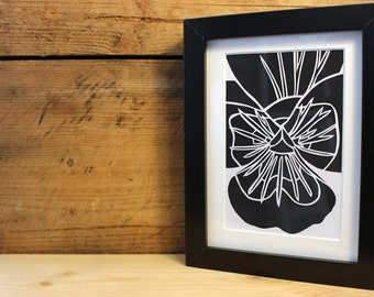 Framed 5x7 Inch Pansy Paper Cut (Other Colours Available)