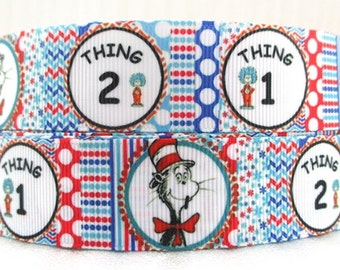 """3 Yards 1"""" Dr Seuss Dots Inspired-thing1-Thing 2-The Cat in the Hat-Kids Grosgrain Ribbon-Hair bows-Girls-Boys-Ribbon belt-Printed"""