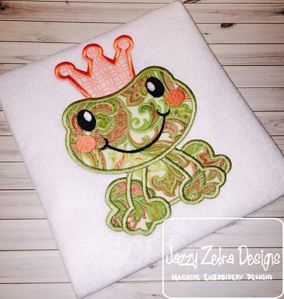 Frog Prince Applique embroidery Design -  Frog Princess Applique embroidery Design - frog appliqué design - girl Applique Design - boy