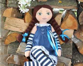 Made to order Rag doll OOAK Fabric doll Stuffed doll Interior doll Blue dress Gifts for girls Kids friendly Doll for girl Striped socks