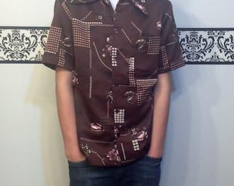 1960's Men's Hawaiian Shirt by Triumph of California, Size Medium, Vintage Men's Hipster Hawaii Shirt, 60's Men's Rockabilly Button Up Shirt