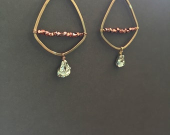 Bronze Pyramid Earrings with Copper and Pyrite