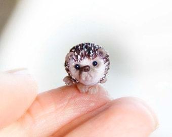 One Miniature Hedgehog Sculpture, Ready to Ship