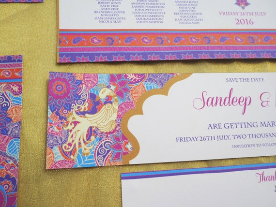 ASIAN- Wedding - Personalized - Mehndi - HENNA - Save The Date Card - Purple - Pink - Purple - Printable - PDF - Digital