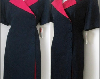 New Vintage Dress Size 18 Column Sheath Navy and Fuchsia Short Sleeve Button Front Career With Tags