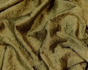 "Antique Brass Crushed Shantung Dupioni 100% Silk Fabric, 52"" Wide, By The Yard (SM-401)"
