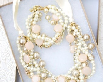 The Aubree Bridal Pearl Statement Necklace, Blush Pink Bridesmaid Necklace, Pearl Wedding Jewelry, Bridesmaid Gift, Chunky Pearl Necklace
