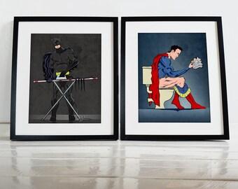 Batman Ironing and Superhero Superman On the Toilet Art Prints