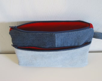 denim e-reader bag, nook,kindle, repurposed jeans bag,red accent, pencil pouch,zippered  pouch, modern denim pouch,recycled jeans,