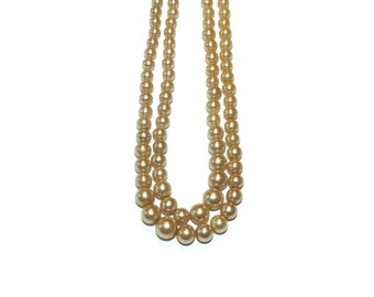 Marvella Double Pearl Necklace, Pearl Jewelry, Double Strand Pearls, Marvella Signed Necklace,