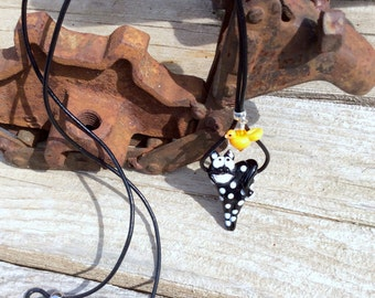 Black Cat and Canary Lampwork Leather Necklace OOAK