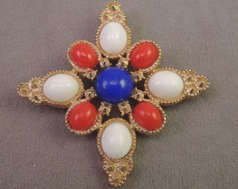 1972 Americana Sarah Coventry Pin, Red, White, and Blue