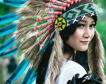 Adult Native American Natural  Indian Feather Headdress ~ Mardi Gras ~ Costume ~ Chief Headpiece~ Halloween Indians Dress Up