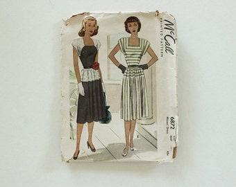 """McCall 6872 · Sz 10, bust 28.5"""" · Juniors Womens 1940s Pattern"""
