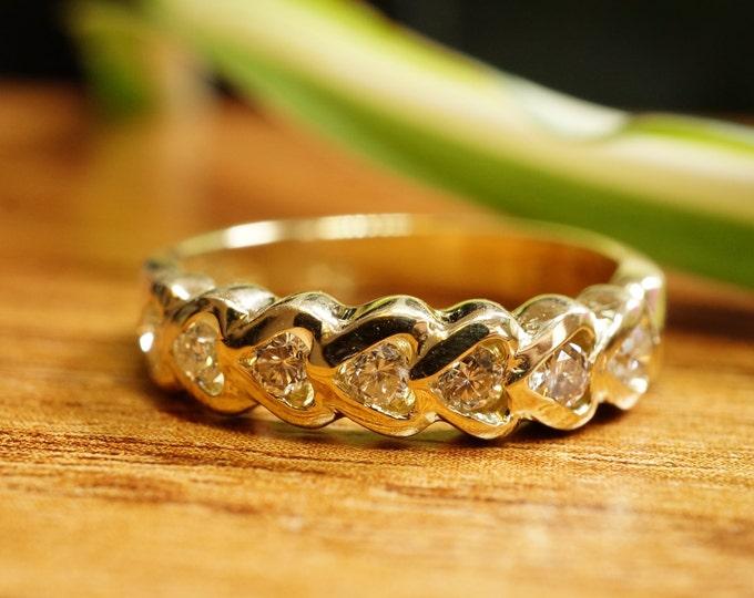 Heart ring-Diamond heart ring-Eternity wedding band-1/2 carat Gold wedding band-Art deco ring-Diamond heart wedding band-For her-Gold ring