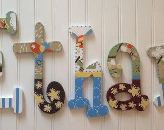 Little Aviator Custom Hand Painted Wooden Wall Letters Wall Art Children Nursery Airplanes Room Decor