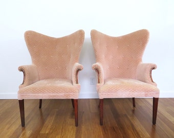1940s Velvet Butterfly Wingback Chairs, A Pair, Tufted Blush Pink, Hollywood Regency
