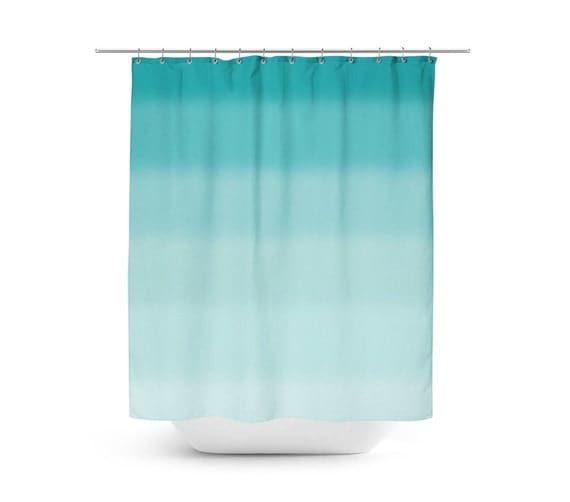 ombre shower curtain teal shower curtain bath curtain teal bathroom decor ombre 12059