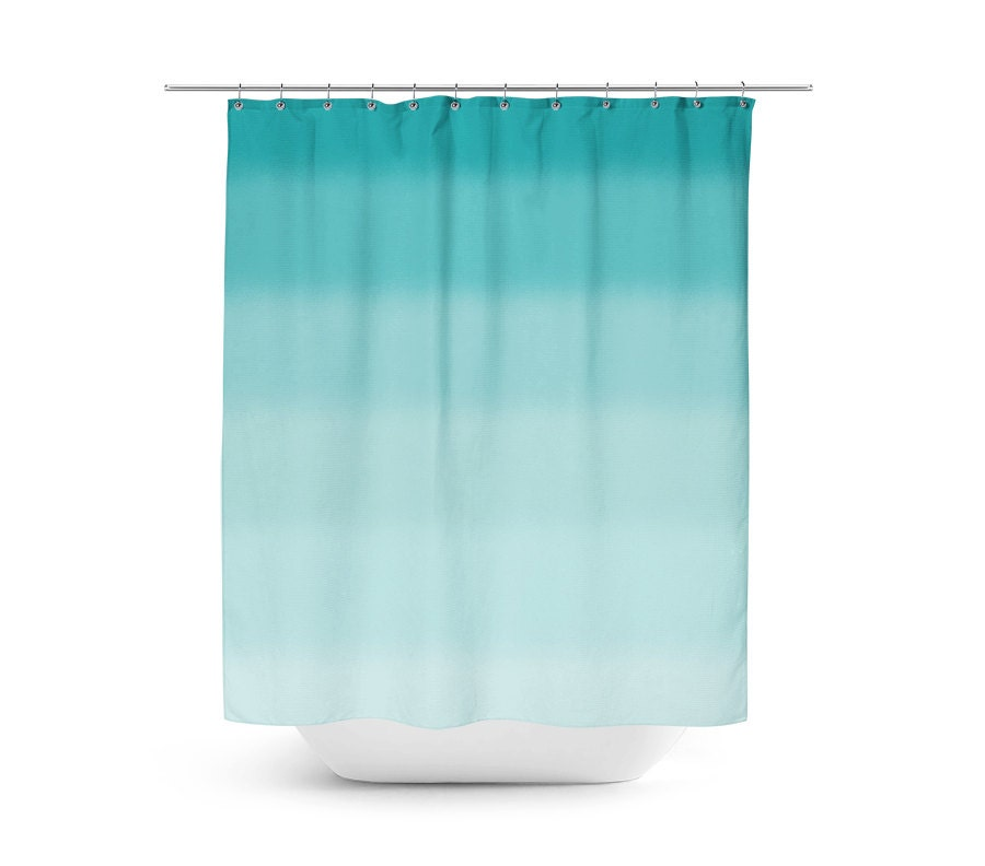 Teal Shower Curtain Bath Curtain Teal Bathroom Decor Ombre