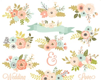 "Wedding Floral Clipart  "" FLORAL CLIPART "" Flowers Clipart. Floral Posies Clip Art. Wedding Clipart. Wedding Invitations. Commercial Use."