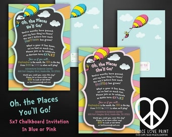 Oh The Places You'll Go Chalkboard Printable Birthday Invitation