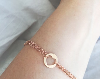 925 silver bracelet wet pink gold with double chain and heart pendant or star