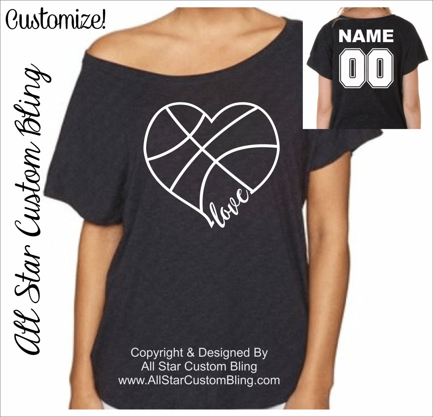 custom glitter basketball heart off shoulder shirt glitter. Black Bedroom Furniture Sets. Home Design Ideas