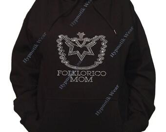 "Rhinestone Women's Pullover Hoodie "" Folklorico Mom Crystal "" Sweatshirt Sm to 3X"