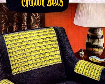 1954 Smart Chair Sets Crochet Pattern / Coats and Clarks Book 309 / Chair Back and Arm Pieces