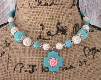 turquoise necklace Cross pendant pink rose southwestern necklace cowgirl necklace bohemian necklace turquoise jewelry junk gypsies  necklace