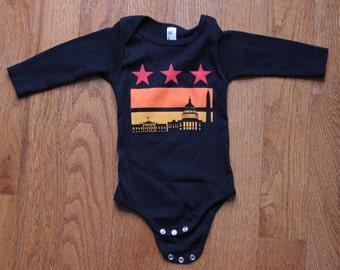 6-12 Months - DC Sunset Flag (Black) Long Sleeve Onesie