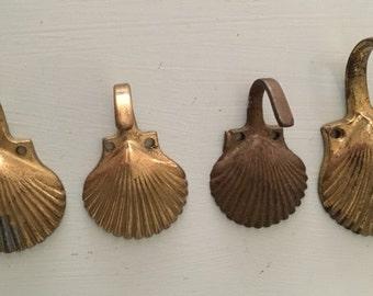 Vintage Brass Seashell Hooks