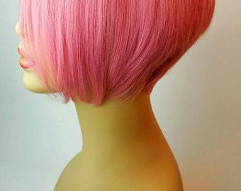 Short Pink Wig, Pink Wig, Long Bangs, Sweeping Bangs, Stacked, Wedge, Pink, Wig