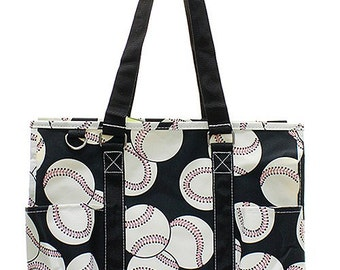 Monogram utility tote/ Baseball utility tote/carry all/ large  diaper bag