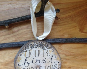 """Our First Christmas Ornament 3"""" Gold Wood Circle Tree Slice / Christmas Bridal Gift for Married Couple / Husband Wife newlywed Rustic Gift"""