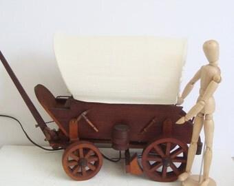 Covered Wagon Lamp, Western, Cowboy, Pioneers, Wagon Train, Prairie, Table / Desk Lamp,  Primitive Americana