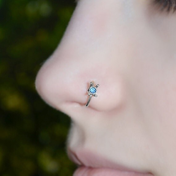 Silver Nose Ring 20g - Tragus Ring 2mm Sapphire - Forward Helix Earring - Cartilage Earring - Rook Jewelry - Daith Jewelry - Conch Earring