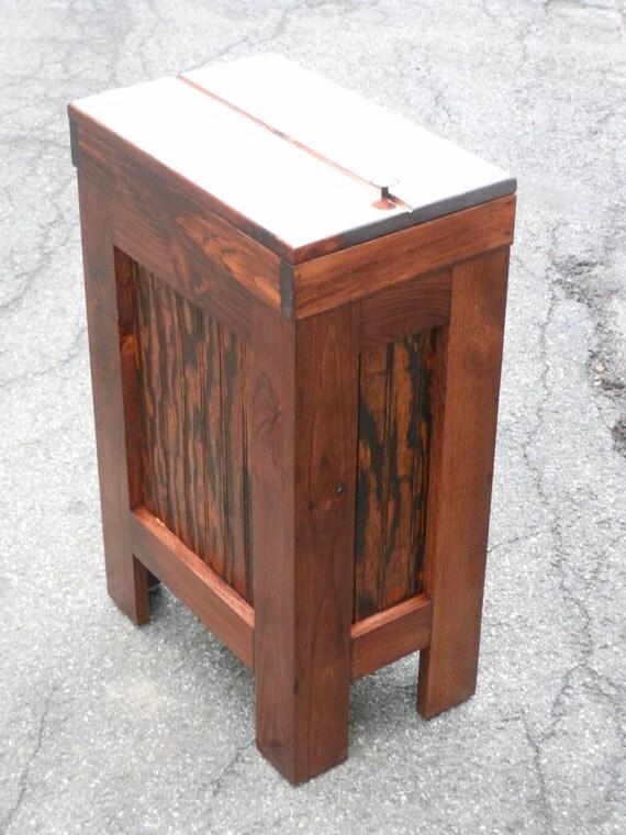 Wood Wooden Kitchen Garbage Can Trash Bin Red By Buffalowoodshop
