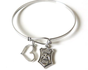 Police Security Guard Law Enforcement Officer Love Heart Charm Stainless Steel Loop Bangle Bracelet